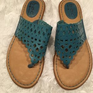 BOC BORN Caree Thong Sandal Denim Blue 8 Laser Cut